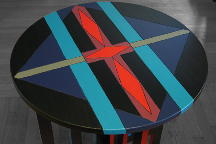Diamond Lanes Functional Art Round End Table