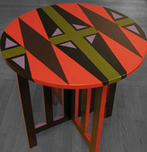 out the window round end table