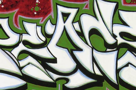 Peace White on Green Graffiti Piece