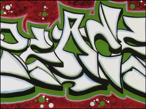 Peace White on Green Graffiti Art Piece