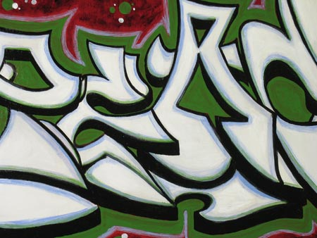 Peace White on Green Urban Art Painting