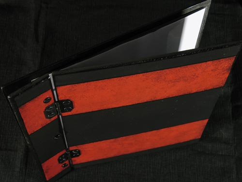 Red Striped on Black Wood Memory Book / Portfolio / Scrapbook